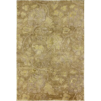 One-of-a-Kind Hand-Woven Wool Light Gold Area Rug