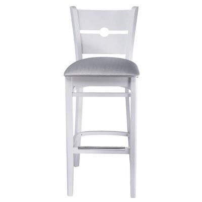 30 Bar Stool Color: White, Upholstery: Silver