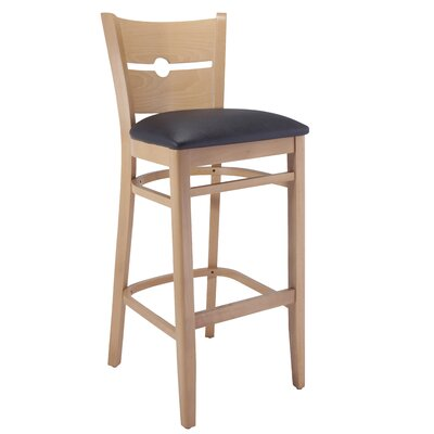 30 Bar Stool Frame Color: Natural, Seat Color: Black