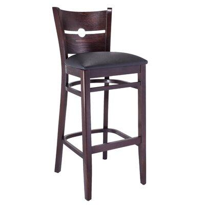 30 Bar Stool Color: Dark Brown, Upholstery: Black