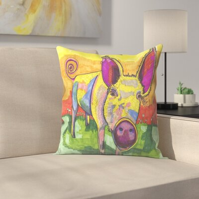 Yellow Pig Throw Pillow Size: 18 x 18