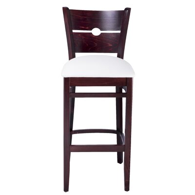 30 Bar Stool Color: Brown, Upholstery: White
