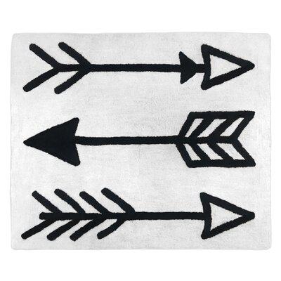 Floor Cotton Black/White Area Rug