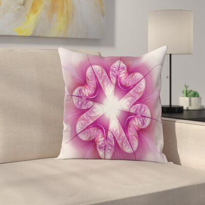 Abstract Fractal Flower Square Pillow Cover Size: 16 x 16