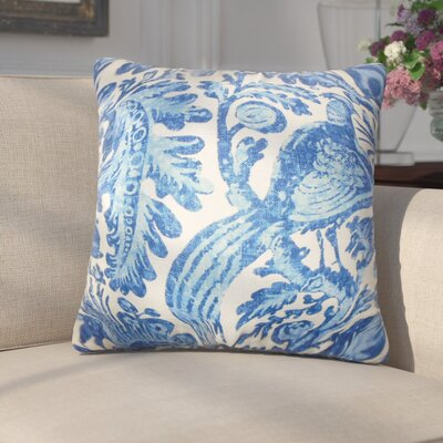 Erling Floral Linen Throw Pillow Color: Blue