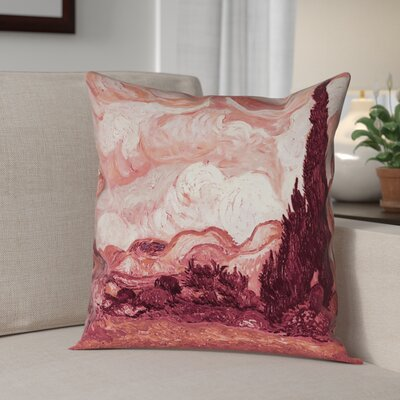 Lapine Wheatfield with Cypresses Square Linen Pillow Cover Color: Red, Size: 18 x 18