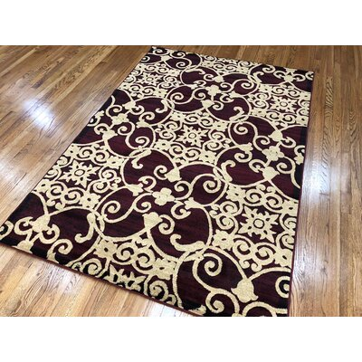 Meador Burgundy Area Rug Rug Size: Rectangle 5 x 7