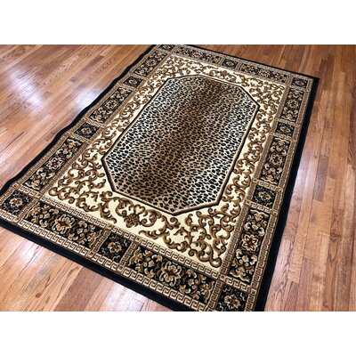 Hoglund Black Area Rug Rug Size: Rectangle 37 x 5