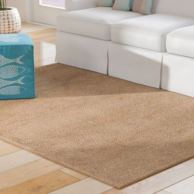 Chapelton Hand-Knotted Wool Tan Area Rug Rug Size: 57 x 710