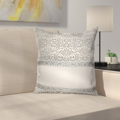 Baroque Damask Curves Square Cushion Pillow Cover Size: 24 x 24