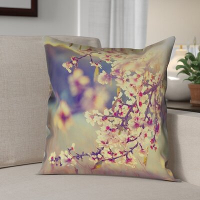 Ghost Train Cherry Blossoms Square Pillow Cover Size: 14 H x 14 W