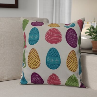 Funky Junky Eggs-ellent! Throw Pillow Size: 18 H x 18 W, Color: White