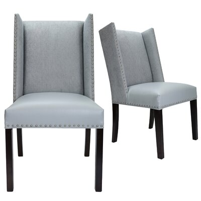 Renn Upholstered Dining Chair Upholstery Color: Light Gray, Leg Color: Espresso