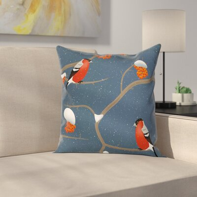 Snowy Tree Branches Birds Square Pillow Cover Size: 20 x 20