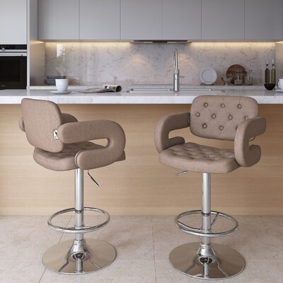 Quimir Adjustable Height Swivel Bar Stool Upholstery: Light Brown