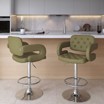 Quimir Adjustable Height Swivel Bar Stool Upholstery: Olive Green