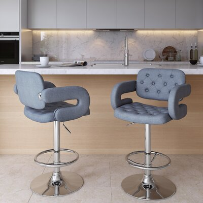 Quimir Adjustable Height Swivel Bar Stool Upholstery: Blue Grey