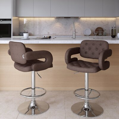 Quimir Adjustable Height Swivel Bar Stool Upholstery: Dark Brown