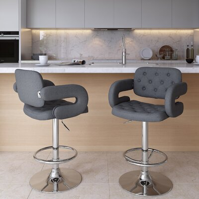 Quimir Adjustable Height Swivel Bar Stool Upholstery: Dark Grey