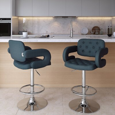 Quimir Adjustable Height Swivel Bar Stool Upholstery: Dark Blue