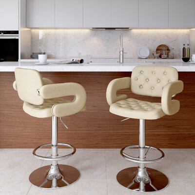 Quimir Adjustable Height Swivel Bar Stool Upholstery: Oatmeal