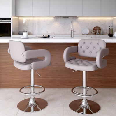 Quimir Adjustable Height Swivel Bar Stool Upholstery: Light Grey