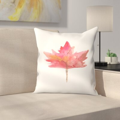 Jetty Printables Maple Leaf Watercolor Throw Pillow Size: 16 x 16