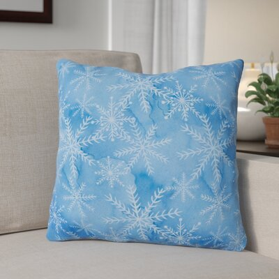 Watercolor Snowflake Square Outdoor Throw Pillow Color: Dark Blue