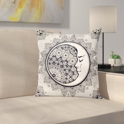 Zodiac Boho Star Moon Mandala Square Pillow Cover Size: 16 x 16