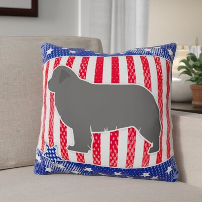 Patriotic Blue/Gray Square Indoor/Outdoor Throw Pillow Size: 14 H x 14 W x 3 D