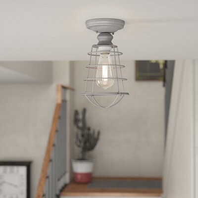 Leda 1-Light Semi Flush Mount Finish: Galvanized