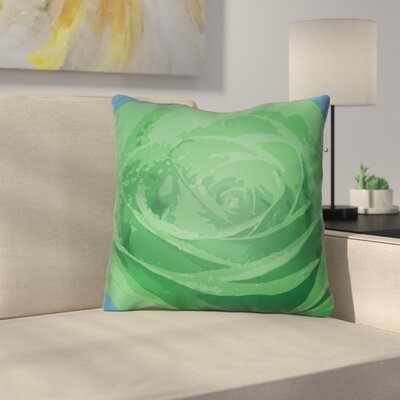 Virgil Flower Throw Pillow Size: 18 H x 18 W x 4 D, Color: Green