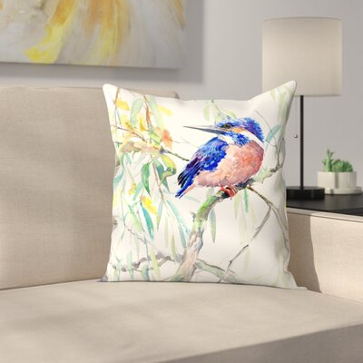 Suren Nersisyan Common Kingfisher Throw Pillow Size: 20 x 20