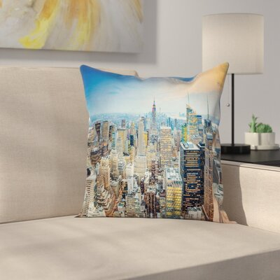Aerial View New York City Square Pillow Cover Size: 18 x 18