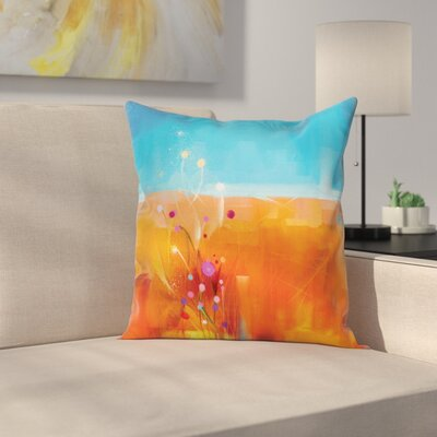 Abstract Art Flowers Pillow Cover Size: 24 x 24