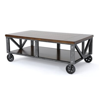 Warleigh Coffee Table with Casters Table Top Color: Dark Brown