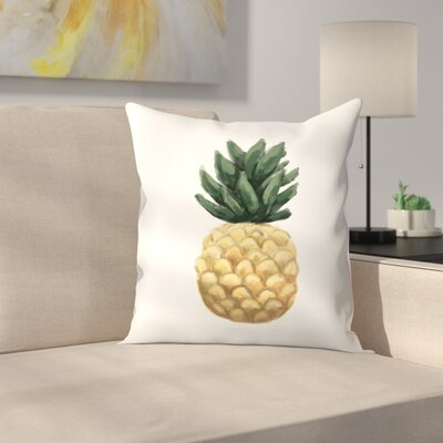 Jetty Printables Painted Pineapple Throw Pillow Size: 18 x 18