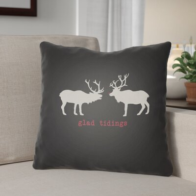 Glad Tidings Indoor/Outdoor Throw Pillow Size: 18 H x 18 W x 4 D, Color: Black / White / Red