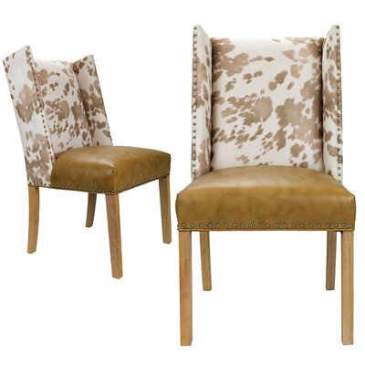 Renn Upholstered Dining Chair Upholstery Color: Beige/White, Leg Color: Natural