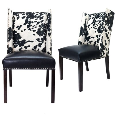Renn Upholstered Dining Chair Upholstery Color: Black/White, Leg Color: Espresso