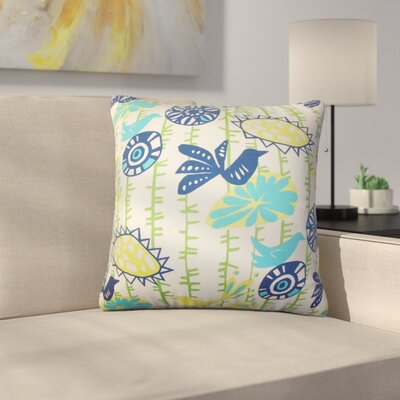 Ruelas Floral Cotton Throw Pillow Color: Blue