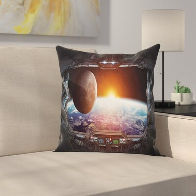 Outer Space Earth Planet Ship Square Pillow Cover Size: 16 x 16
