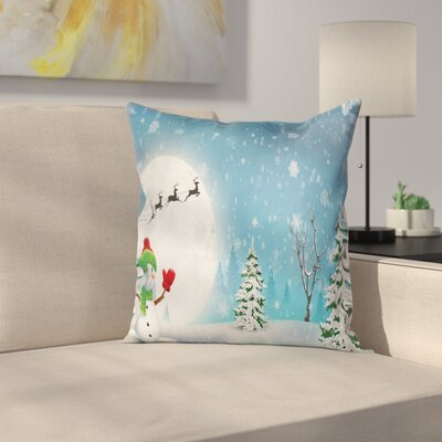 Christmas Jolly Snowman Santa Square Pillow Cover Size: 16 x 16