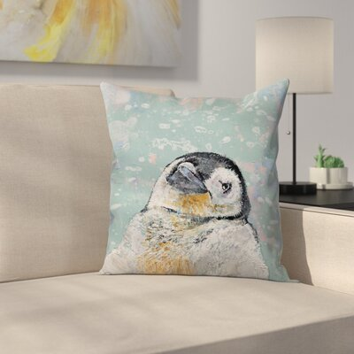 Michael Creese Baby Penguin Snowflakes Throw Pillow Size: 14 x 14