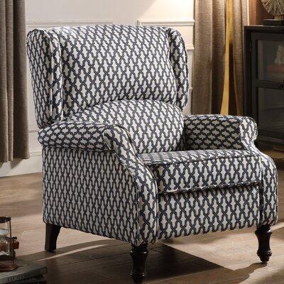 Evonna Manual Recliner Upholstery: Navy