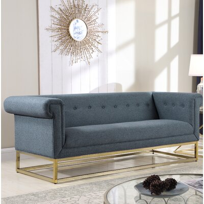 Dollman Button Tufted Sofa Upholstery: Blue