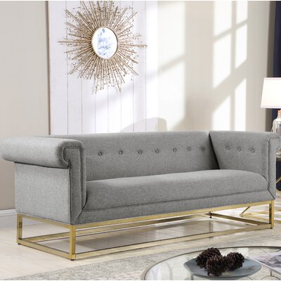 Dollman Button Tufted Sofa Upholstery: Gray
