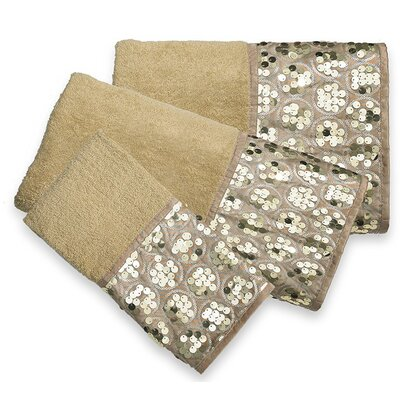 Latrobe Bath Bedazzled Bling 3 Piece Towel Set Color: Champagne