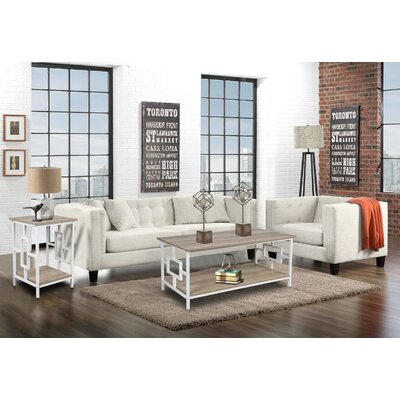 Kidwelly Coffee Table with Storage Table Top Color: Ash, Table Base Color: White