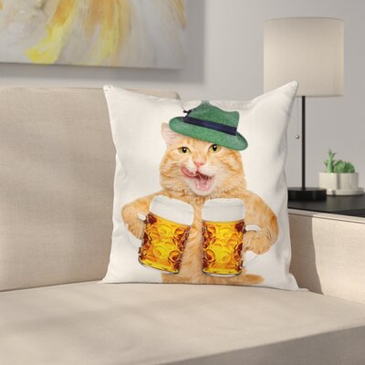 Cat Cool Cat Hat Beer Mug Funny Square Pillow Cover Size: 18 x 18
